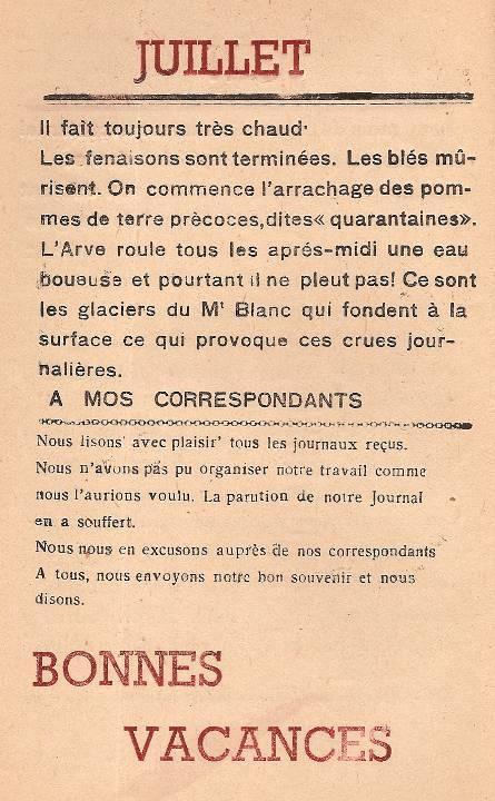 Journal scolaire de Passy, « Face au Mont-Blanc », avril-mai-juin-juillet 1947, p. 19