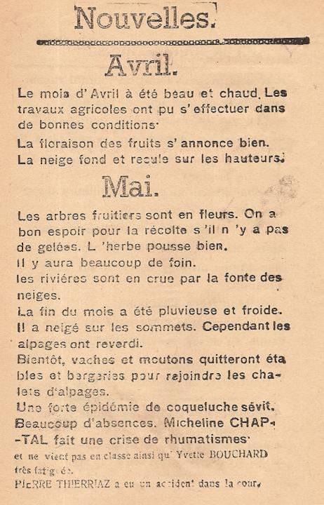 Journal scolaire de Passy, « Face au Mont-Blanc », avril-mai-juin-juillet 1947, p. 2 Nouvelles