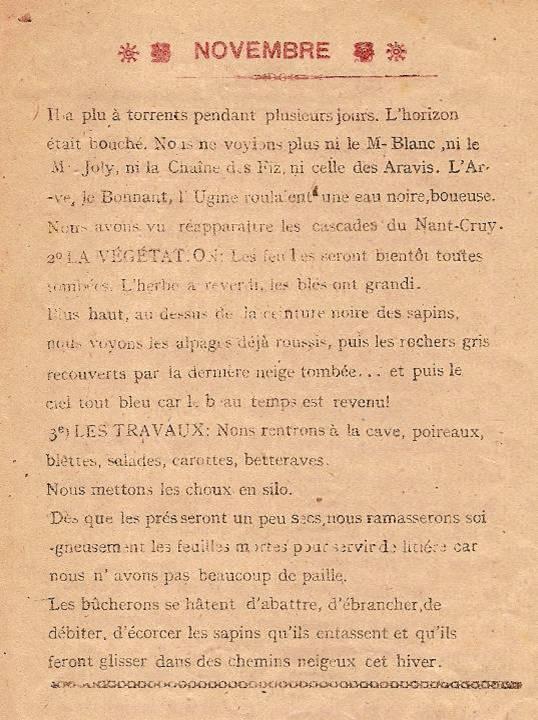 Journal scolaire de Passy, « Face au Mont-Blanc », novembre-décembre 1947, p. 4, « Novembre »