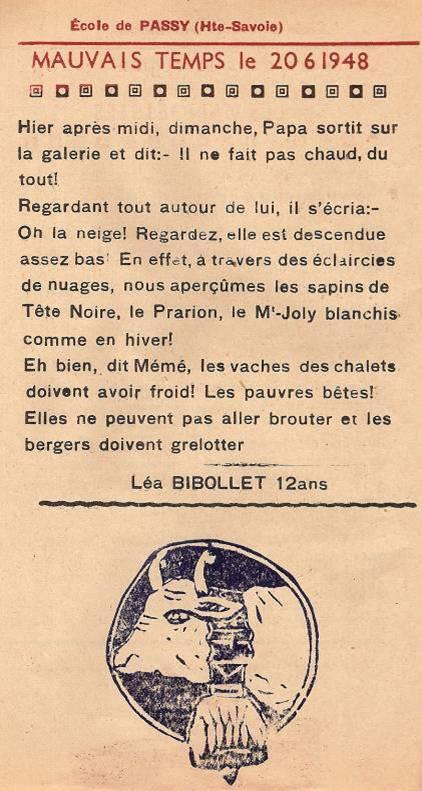 Journal scolaire de Passy, « Face au Mont-Blanc », juin-juillet 1948, p. 2 Mauvais temps le 20 juin 1948, par Léa Bibollet, 12 ans