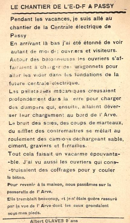 Journal scolaire de Passy, « Face au Mont-Blanc », novembre 1949, p. 9 Le chantier de l'E.D.F. à Passy, par Albert Claves, 9 ans
