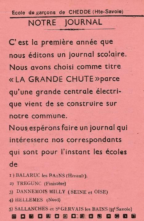 Journal scolaire de Passy, « Face au Mont-Blanc », octobre-novembre- décembre 1951, p. 1 Notre journal