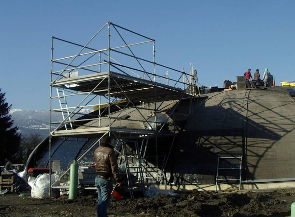 Le chantier de rénovation de la piscine de Passy-Marlioz (cliché Bernard Théry, 27 novembre 2013)