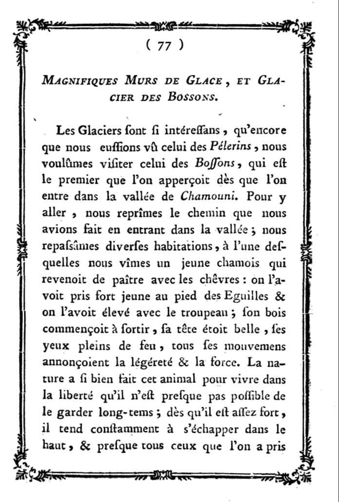 Fac-similé du livre de M. Th. Bourrit, Description des glacières et glaciers et amas de glaces du duché de Savoye, 1773, page 77, « Magnifiques murs de glace et glacier des Bossons »