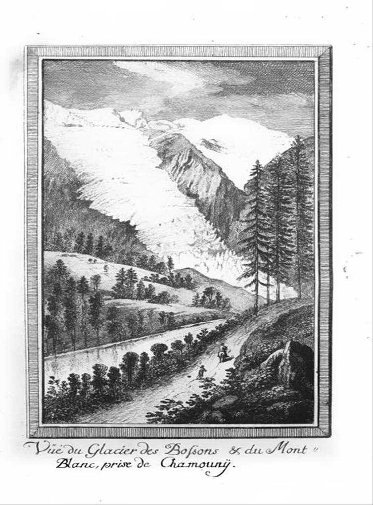 « Vue du glacier des Bossons et du Mont-Blanc prise de Chamouny » (Gravure de Marc-Théodore Bourrit, Nouvelle description des glacières et glaciers de Savoye…, 1785)