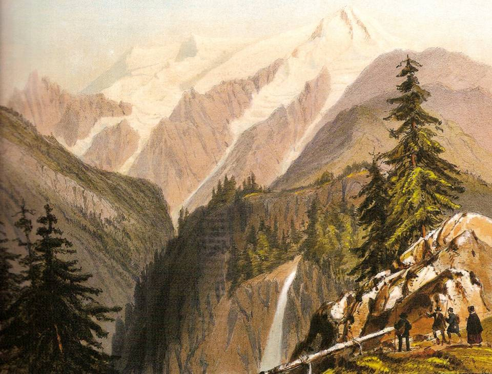 Vue du Mont-Blanc prise des Montées Pélissier par Chapuy (lithographie en couleur)