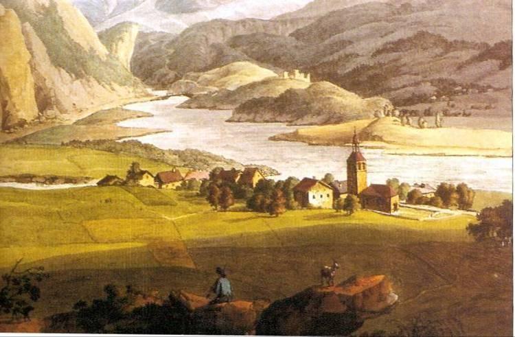 Jean-Antoine LINCK (1766-1843), « Vue de Servoz, de l'Aiguille du Gouté et du Glacier de Bionnassey ». Le château Saint-Michel est reproduit à l'arrière plan