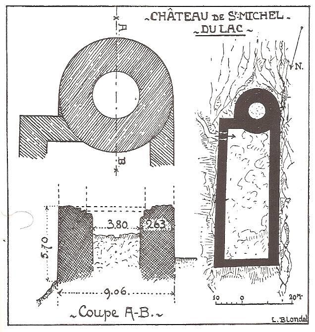 Plan du château St-Michel-du-Lac par Blondel (source H. Baud et J.Y. Mariotte, Histoire des communes savoyardes, p. 209)