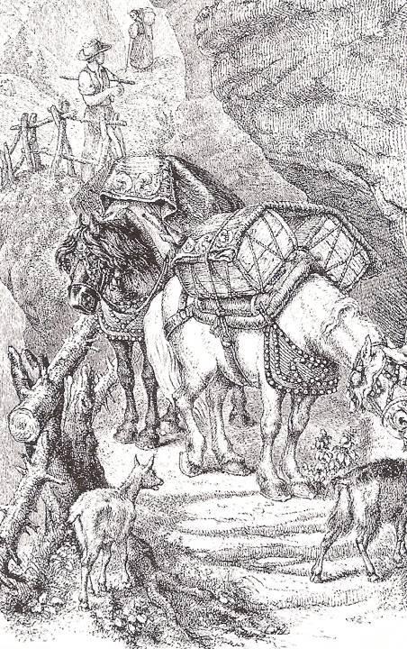 Un exemple de chemin muletier au flanc d'une falaise (Musée Savoisien)