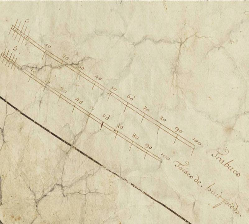 Echelle figurant sur le cartouche de la mappe sarde de Passy en 1733 : « trabucs » et « toises de huit pieds » (Archives départementales de Haute-Savoie)
