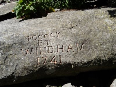Signature de Windham et Pococke, 1741, près de la Mer de Glace