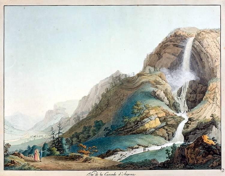 Vue de la cascade d'Arpenas, par Jean-Antoine Linck (1766-1843)