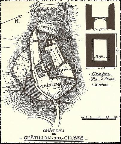Plan du château de Chatillon-sur-Cluses