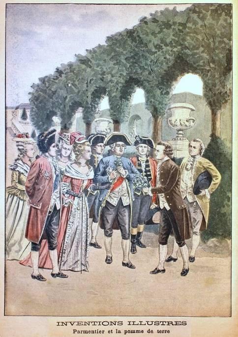 Parmentier s'empresse d'offrir les fleurs de pommes de terre qu'il vient de cueillir dans le champ des Sablons à Louis XVI et Marie-Antoinette alors à la promenade à Versailles (Gravure extraite du Petit journal, mars 1901)