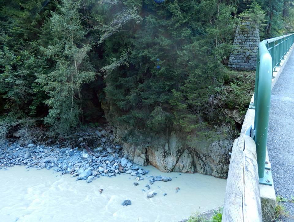 Le Pont Pélissier aux Houches : le pont actuel et, à l'arrière-plan,  un ancien pilier de la rive gauche (cliché Bernard Théry, 2014)