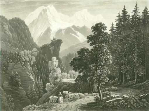 Samuel Birmann,  Le Mont Blanc vu des Montées