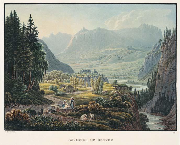 Vue des « Environs de Servoz » par Samuel Birmann (1793-1847), depuis l'est vers l'aval. Au fond, Passy et la chaîne des Fiz ; au premier plan à droite, l'Arve.