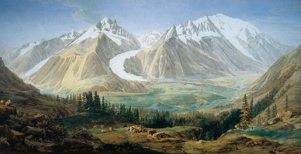 Jean-Antoine Linck (1766-1843), « Vue de la vallée de Chamounix »