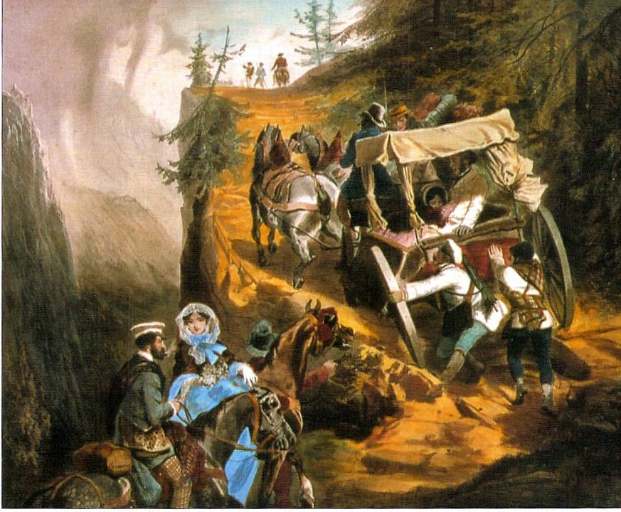 Eugène Guérard (1821-1866), Série les Touristes : « La poste de Salanche à Chamonix », 1850, RMN-Grand Palais (domaine de Compiègne)