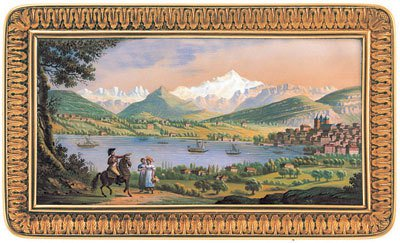 Vue de Genève et du Mont-Blanc depuis Pregny, 1815 env., email de Richter et Troll.