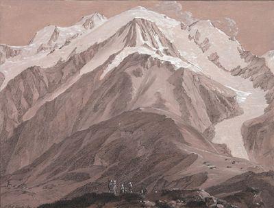 Le Mont-Blanc vu du Prarion, par J. A. Linck. En haut à gauche, le Mont-Maudit et le Mont-Blanc du Tacul.