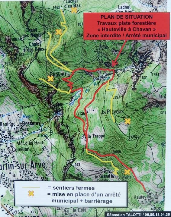 Sur cette carte de la piste forestière « Hauteville à Chavan », le beau plissement alpin est marqué par la flèche rouge (cliché Bernard Théry, 2014)