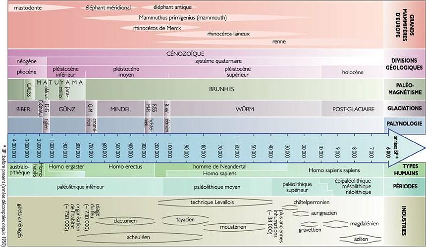 Tableau synoptique de la préhistoire (Site Larousse)