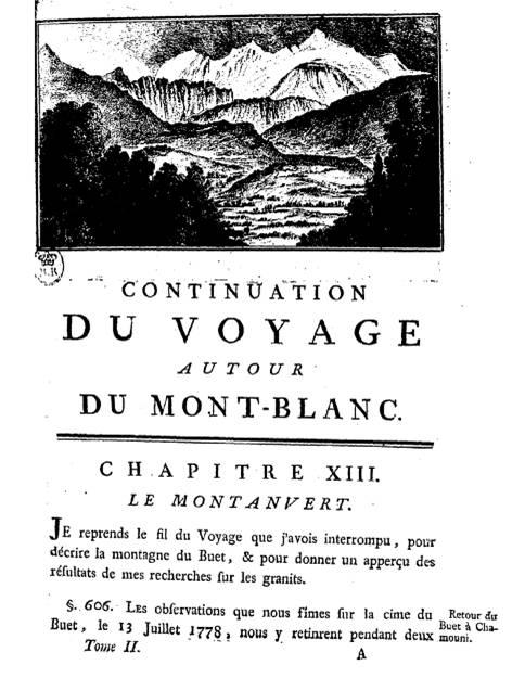 H.-B. de Saussure, Voyages dans les Alpes, Tome II (site gallica BNF, vue 21/667)