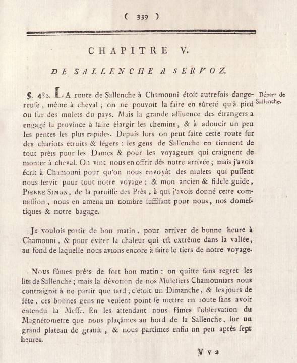 H.-B. de Saussure, Voyages dans les Alpes, tome 1, début du chap 5, « De Sallenche à Servoz », p. 339 (site e-rara)
