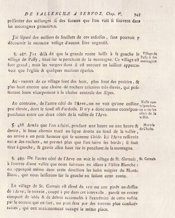 H.-B. de Saussure, Voyages dans les Alpes, tome 1, chap 5, « De Sallenche à Servoz », p. 343, le village de Passy (site e-rara)