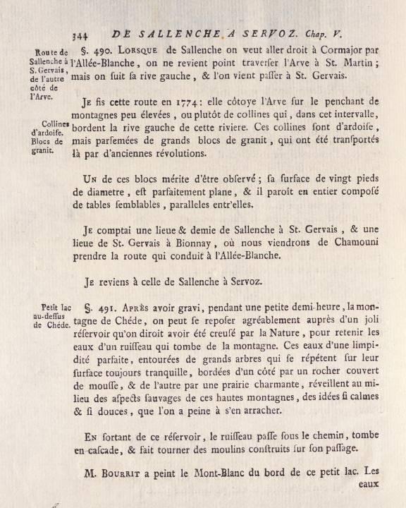 H.-B. de Saussure, Voyages dans les Alpes, tome 1, chap 5, « De Sallenche à Servoz », p. 344, Chedde (site e-rara)