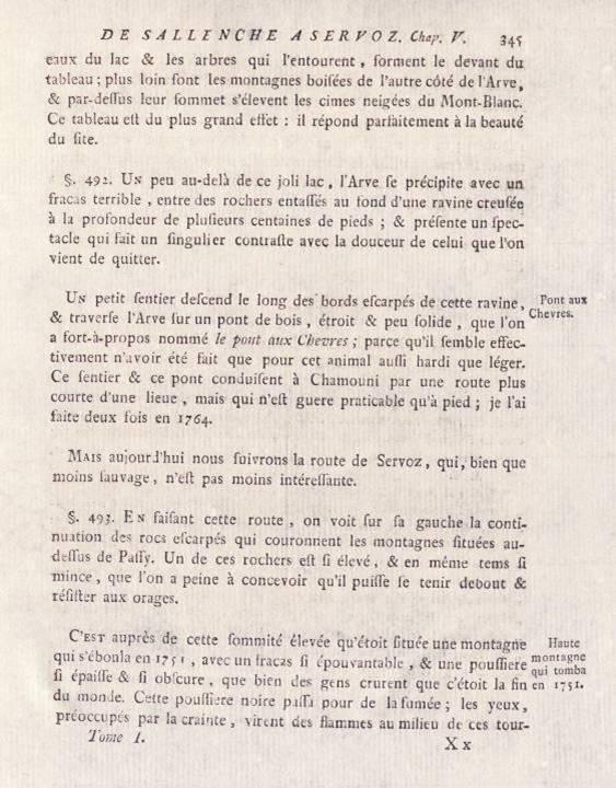 H.-B. de Saussure, Voyages dans les Alpes, tome 1, chap 5, « De Sallenche à Servoz », p. 345, Pont aux Chèvres (site e-rara)