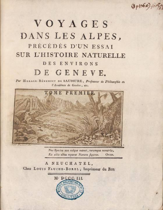 H.-B. de Saussure, Voyages dans les Alpes, page de titre du tome 1 (site e-rara)