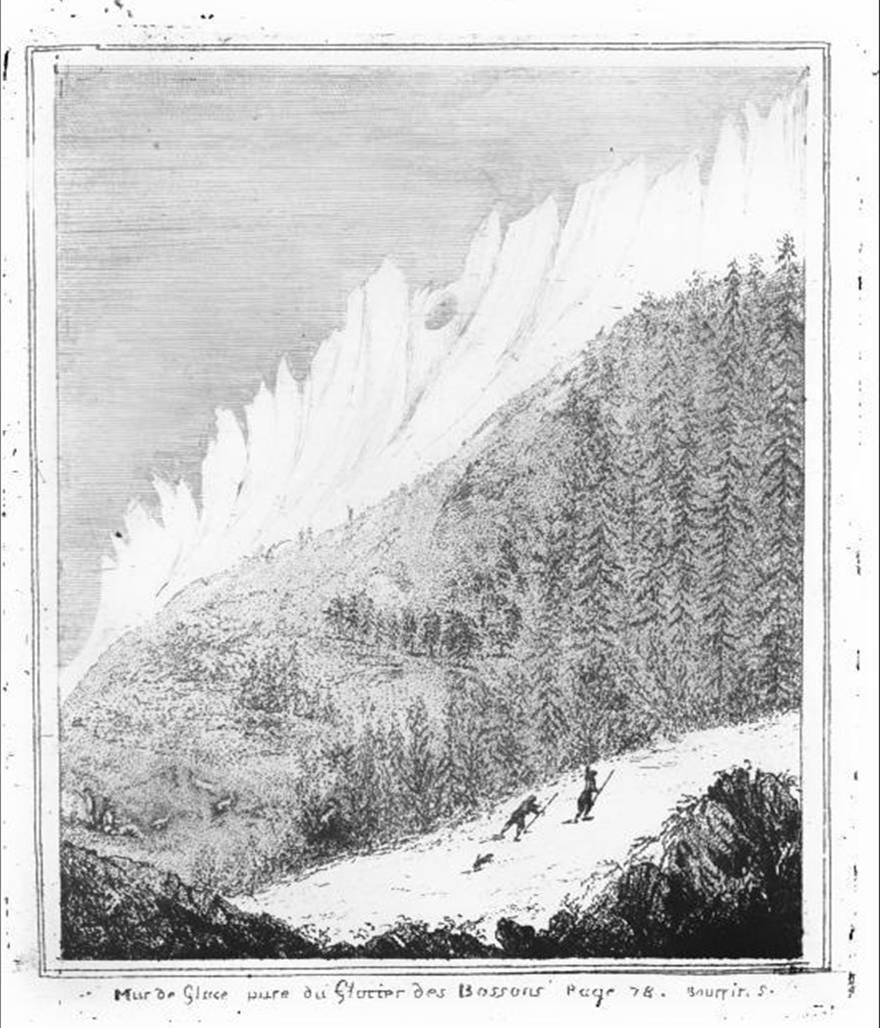 Gravure de Bourrit représentant la Mer de glace vue du glacier des Bossons (première édition, 1773)