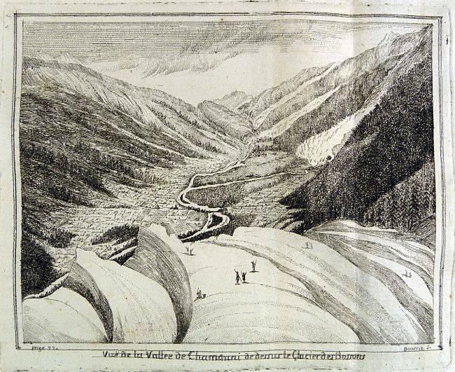 Vue de la vallée de Chamouni de dessus le Glacier des Bossons (Gravure de Bourrit)