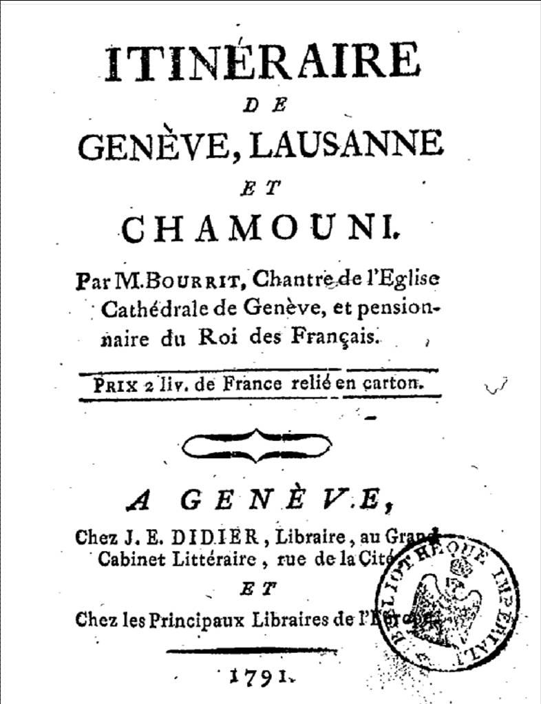 Bourrit, Itinéraire de Genève, Lausanne et Chamonix