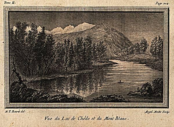 Vue du lac de Chède et du Mont-Blanc, gravure de M.-T. Bourrit