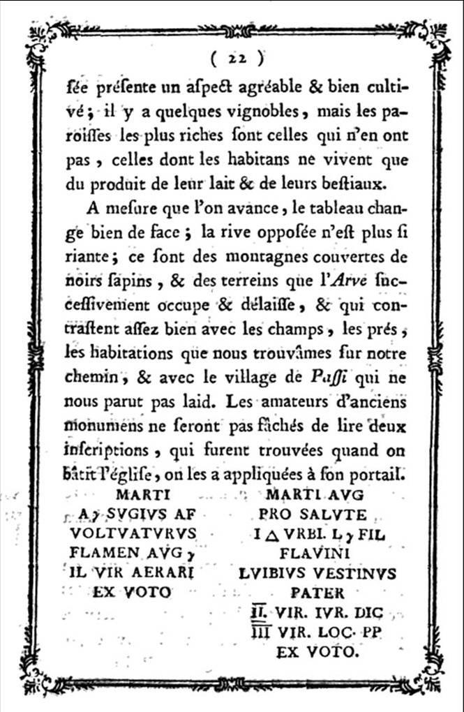 Description des Glacières et amas de glace du Duché de Savoie, par M. T. Bourrit, 1773. Fac-similé de la page 22 : Passy et ses ex-vot