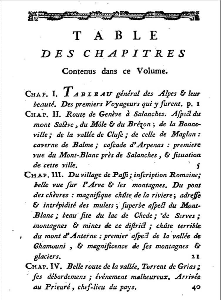 BOURRIT, Nouvelle description des glacières et glaciers de Savoye, 1785. Table des matières : chapitre 3, Passy