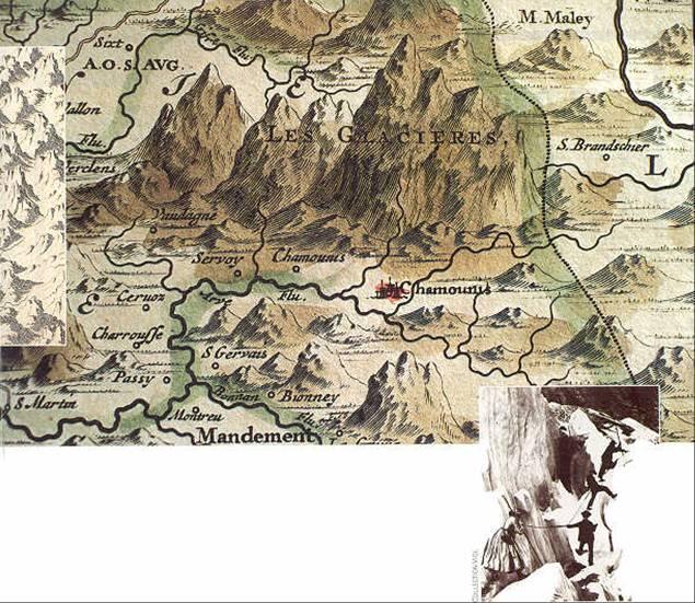 Détail d'une carte ancienne des « glacières de Chamouni » (source Internet)