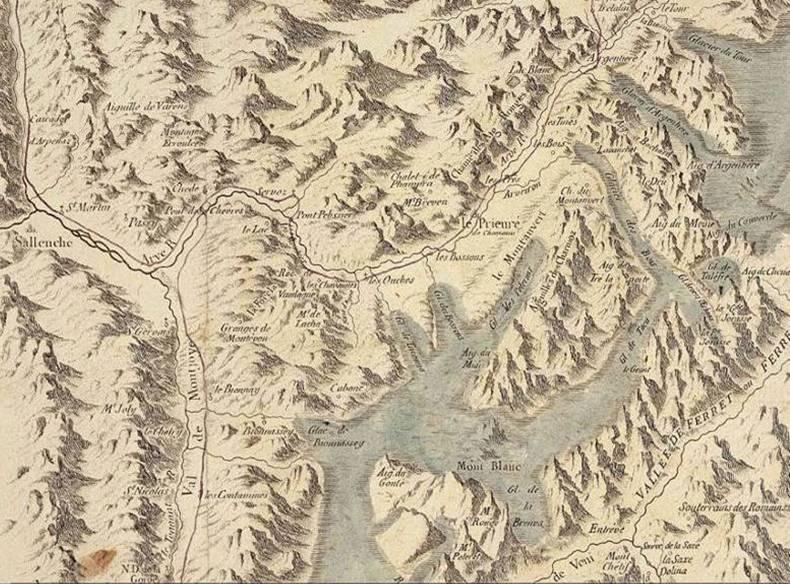Détail de la carte de Marc-Auguste Pictet extraite du livre de Saussure Voyages dans les Alpes en 1786 (source : site savoie-archives.)