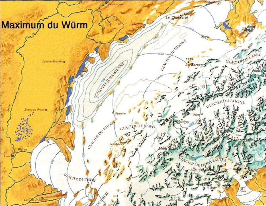 Maximum de la glaciation du Würm (Sylvain Coutterand, Vatusium n° 6, p. 17)