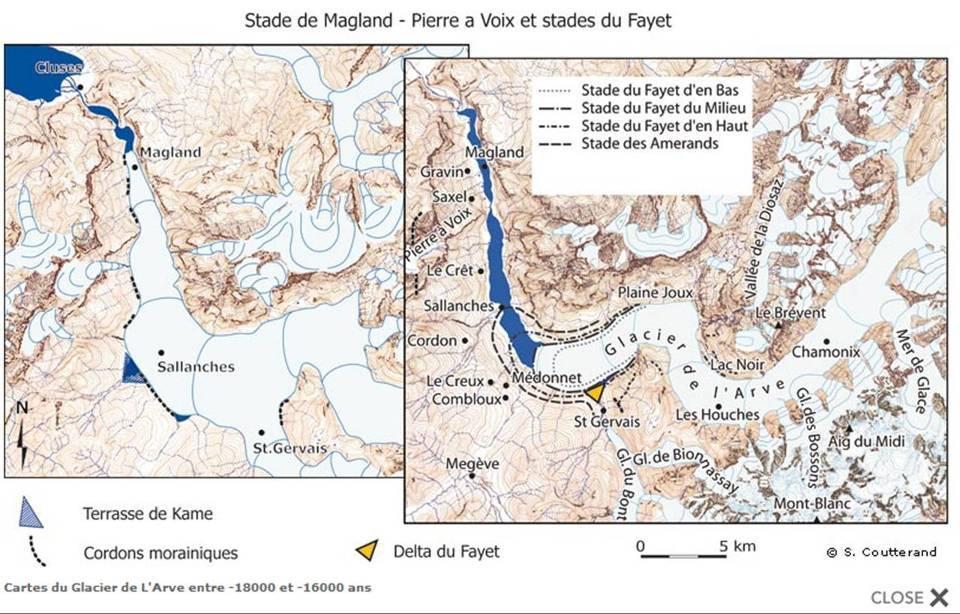 Recul des glaciers de la haute vallée de l'Arve (Carte de Sylvain Coutterand, site glaciers-climat)