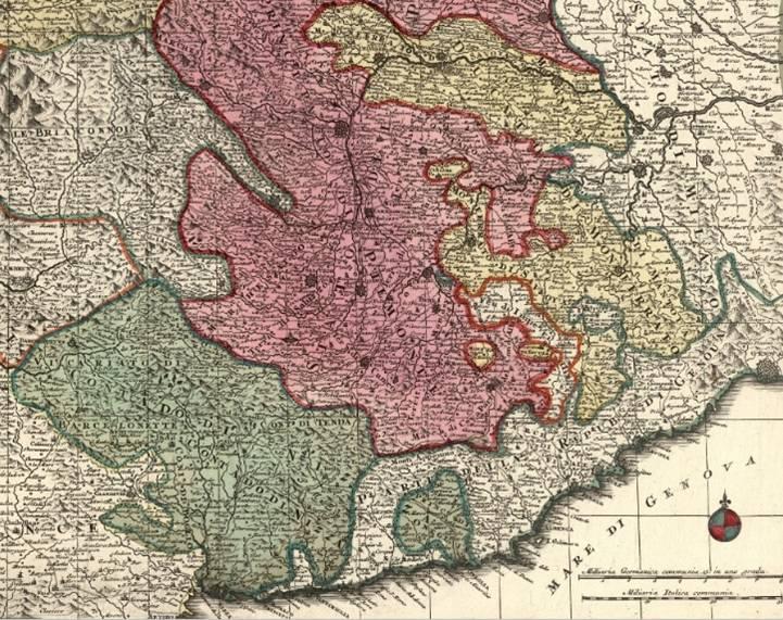 Le duché de Montferrat (en jaune), la principauté de Piémont (en rose) et le comté de Nice (en vert, avec la principauté d'Oneille enclavée dans la République de Gênes), au sein du Royaume de Sardaigne en 1726. (source Internet)