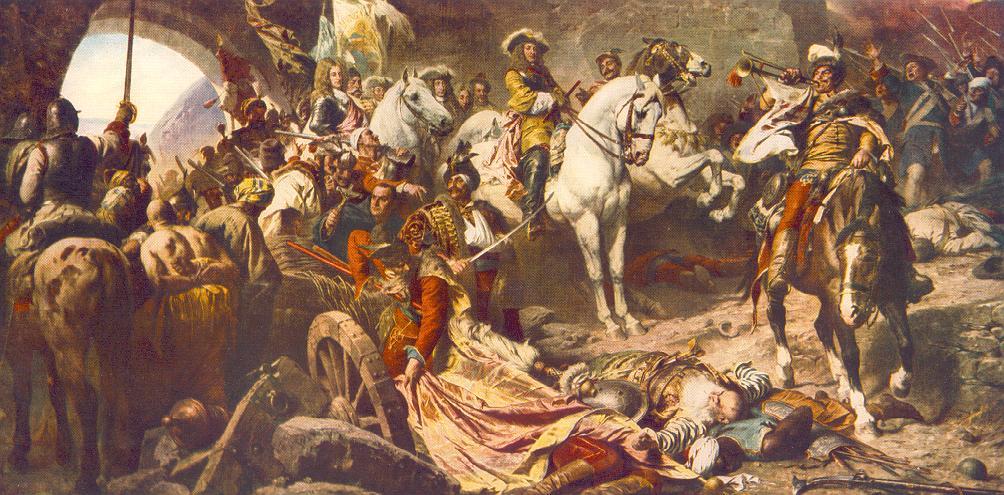 Reprise du château de Buda en 1686. Cette huile sur toile de Gyula Benczúr (1896) montre l'armée chrétienne conduite par le prince Eugène de Savoie pénétrant dans Buda.