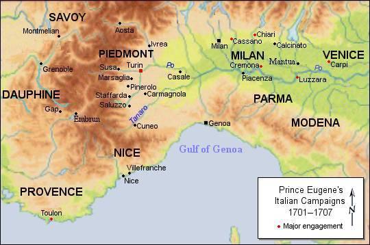 Les campagnes du Prince Eugène de Savoie en Italie, 1701-1707 (wikipedia, version anglaise)