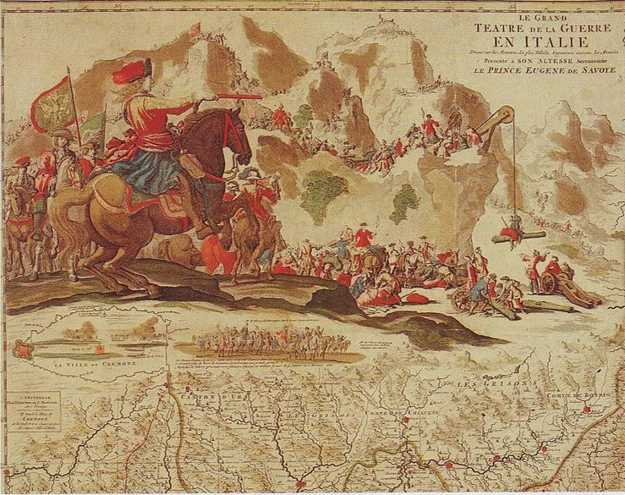 Le Grand Théâtre de la guerre en Italie, présenté à son Altesse  Eugène de  Savoie (Alpen Covens Mortiers, 1702)