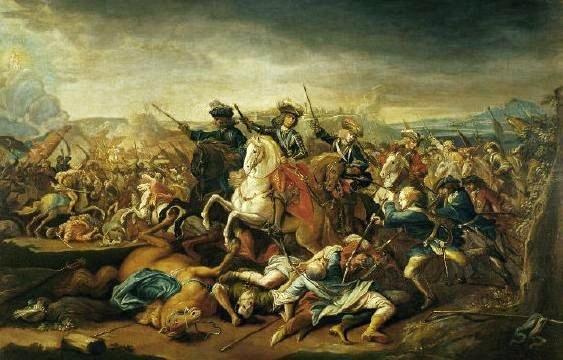 Eugène de Savoie pendant la Bataille de Belgrade, par Johann Gottfried Auerbach, 1717