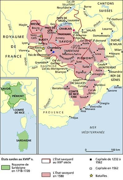 Etats de la Maison de Savoie au XVIIIe siècle (source Larousse)