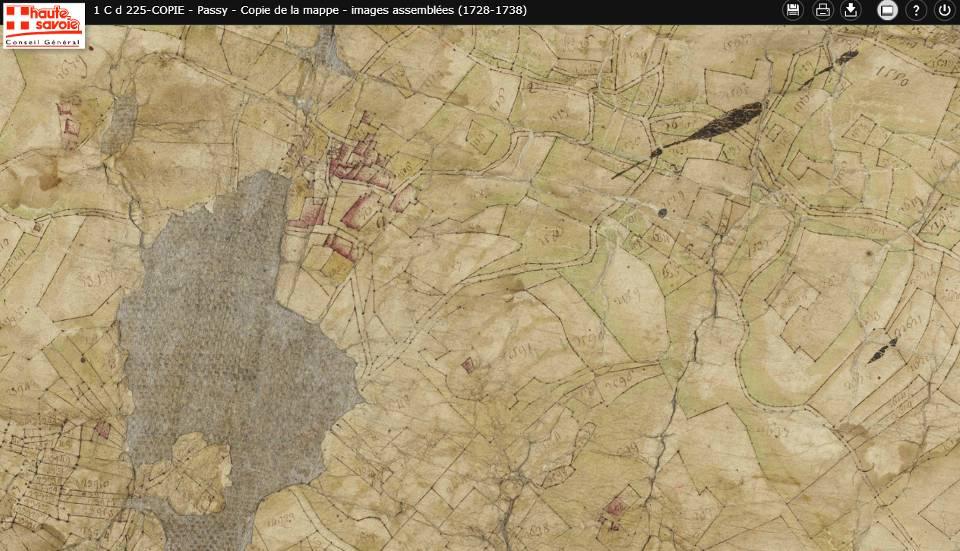Mappe sarde de Passy, image 1/12, 30%, détail : Chef lieu